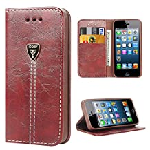 iPhone 5 SE Wallet iPhone 5 5s Case Leather, iDoer Business Slim Magnetic Flip Folio Leather Wallet Protective Case Cover for Apple iPhone 5 5S SE - Brown