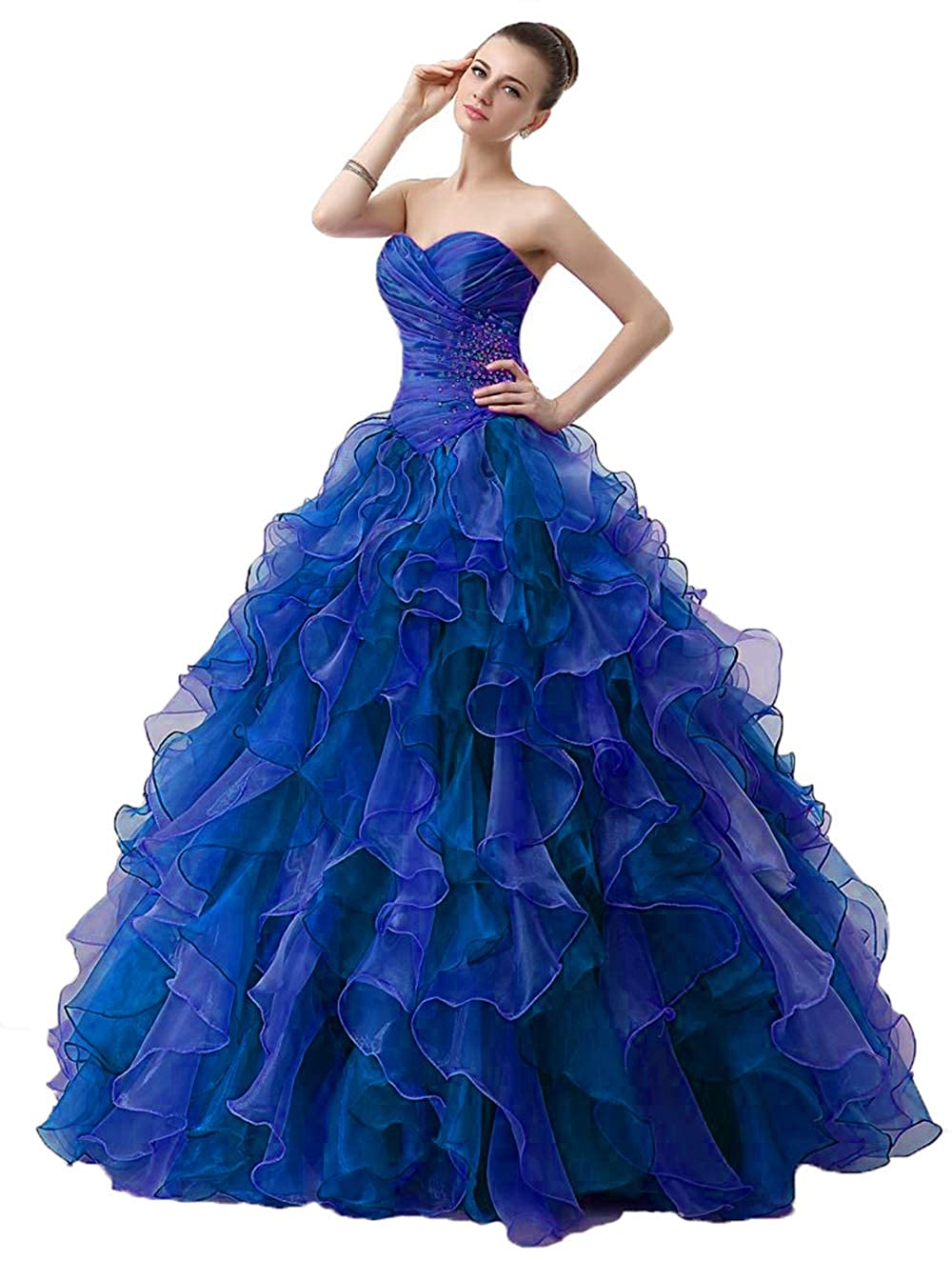 Royal bluee Wanshaqin Women's Mermaid Beaded Sweetheart Organza Ruffled Bridal Ball Gown Wedding Dress Quinceanera Dresses