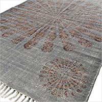 Eyes of India - 4 X 6 ft Grey Gray Mandala Cotton Print Accent Area Overdyed Dhurrie Rug Woven Weave Boho Chic Indian Bohemian