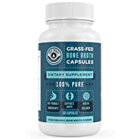 Organic Grass-Fed Bone Broth Capsules with Collagen - 180 Pills. USDA Organic Collagen...