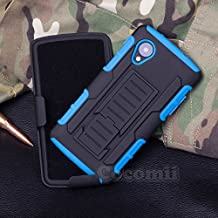 LG Nexus 5 Case, Cocomii Robot Armor NEW [Heavy Duty] Premium Belt Clip Holster Kickstand Shockproof Hard Bumper Shell [Military Defender] Full Body Dual Layer Rugged Cover Google (Blue)