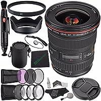 Canon EF 17-40mm f/4L USM Lens + 77mm 3 Piece Filter Set (UV, CPL, FL) + 77mm Multicoated UV Filter + 77mm Lens Hood + SLR Lens Pouch + Lens Pen Cleaner + Microfiber Cleaning Cloth Bundle