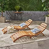 Christopher Knight Home 296060 (Set of 2) Lisbon Outdoor Folding Chaise Lounge Chair, Natural Yellow