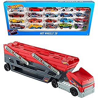 Bundle Includes 2 Items - Hot Wheels Mega Hauler and Hot Wheels 20 Car Gift Pack (Styles May Vary)