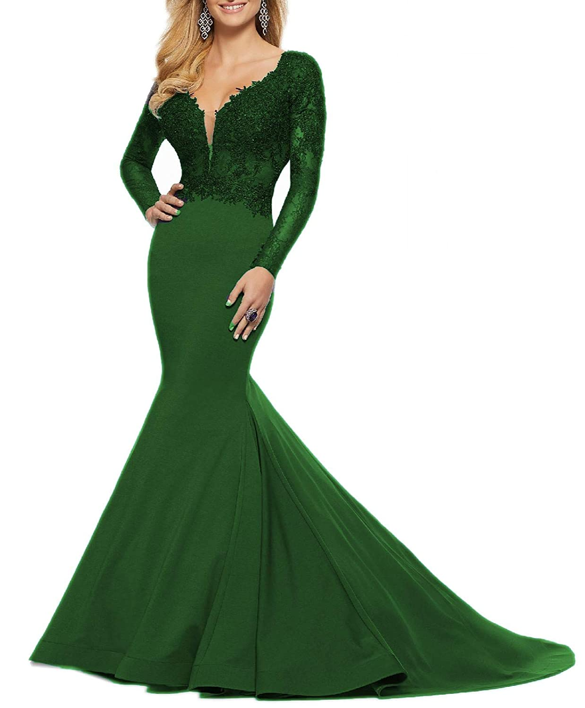 Dark Green Wanshaqin Women's Long Tail Mermaid Double Shoulder Wedding Evening Dress for Bride