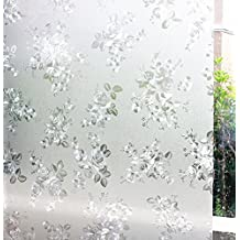 "3D Decorative Floral Pattern Non-Adhesive Frosted Privacy Etched Window Film 24""x36"" ( Peony)"