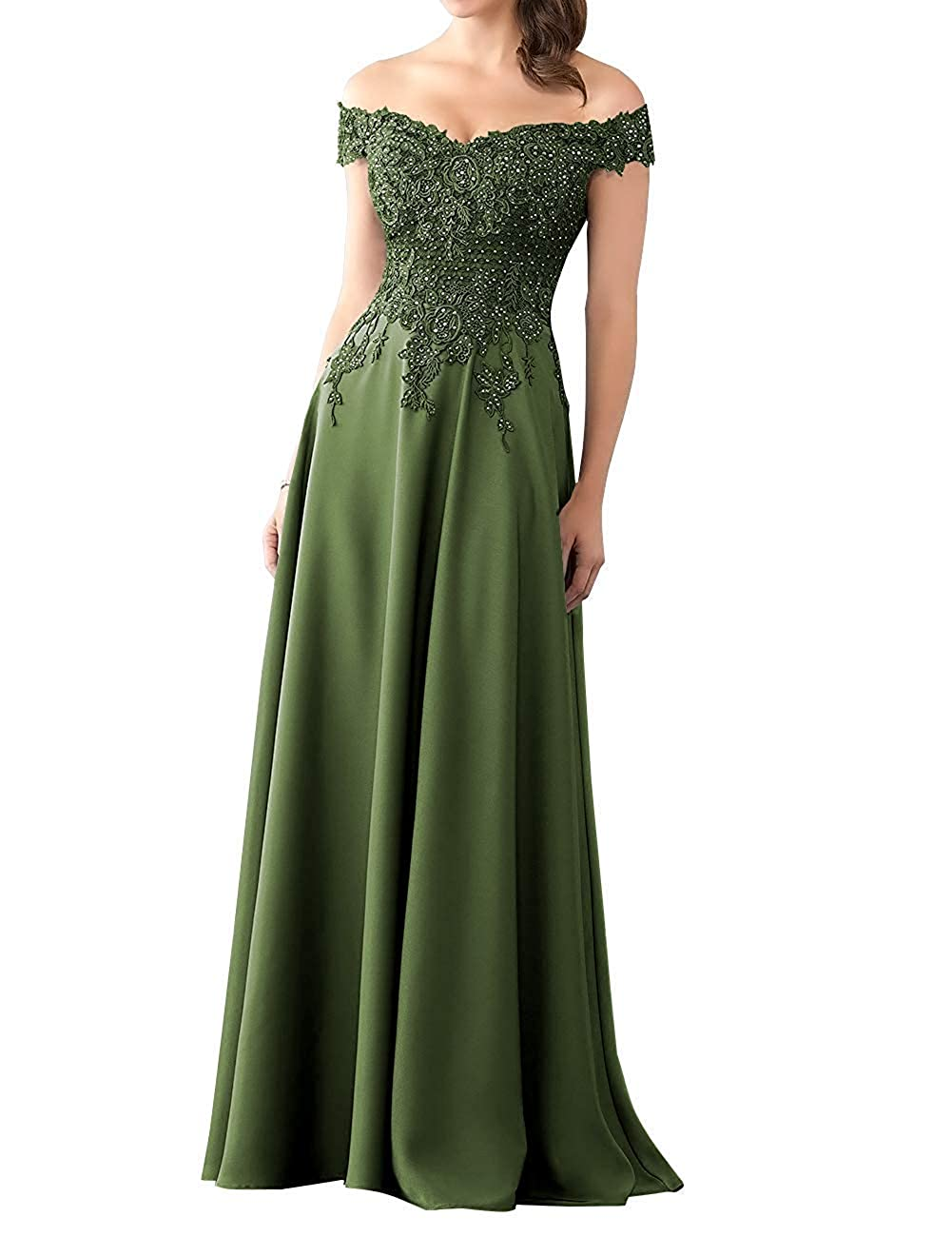 Dark Green Mother of The Bride Dress with Sleeve Off Shoulder Long Beaded Mother Dresses Evening Gowns