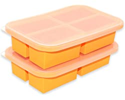 Bangp 1-Cup Silicone Freezing Tray,2 Pack,Large Ice Cube Trays with Lid,Freezer Containers For Soup,Broth,Sauce,Ice Cube - Ma