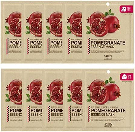 Highly-Concentrated Pomegranate Collagen Essence Full Face Facial Mask Sheet, Korean Beauty Cosmetics, 10 Pack