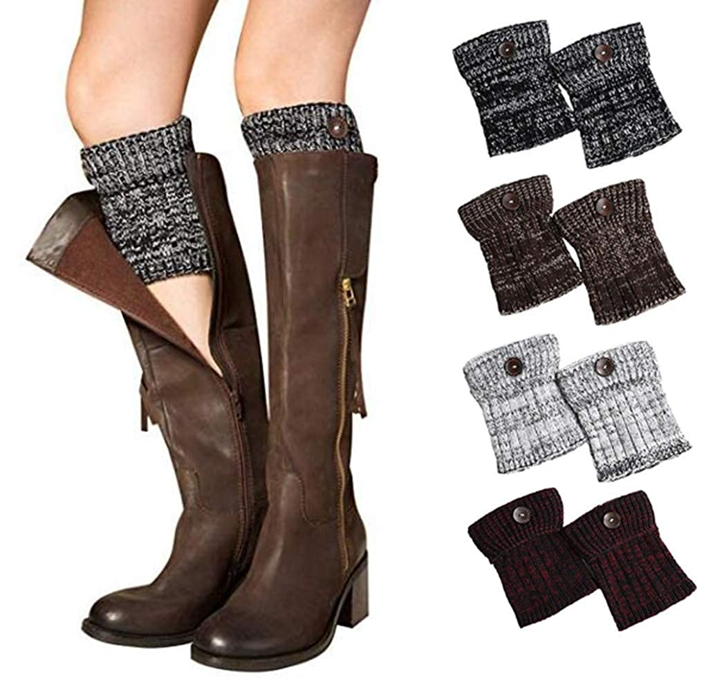 4 Paira1 Xugq66 4 Pairs Women Winter Leg Warmer Crochet Knit Boot Cuffs Socks