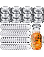 100 Pcs Premium Canning Jar Lids and Bands Set Split-type Canning Lids with Silicone Seals Rings Leak Proof and Secure Canning Jar Caps (70 mm, Silver 50 Bands+50 Lids)