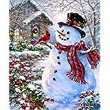 5D Diamond Painting Kit DIY Rhinestone Embroidery Cross Stitch Arts Craft for Home Wall Decor Snowman 12x16 inch