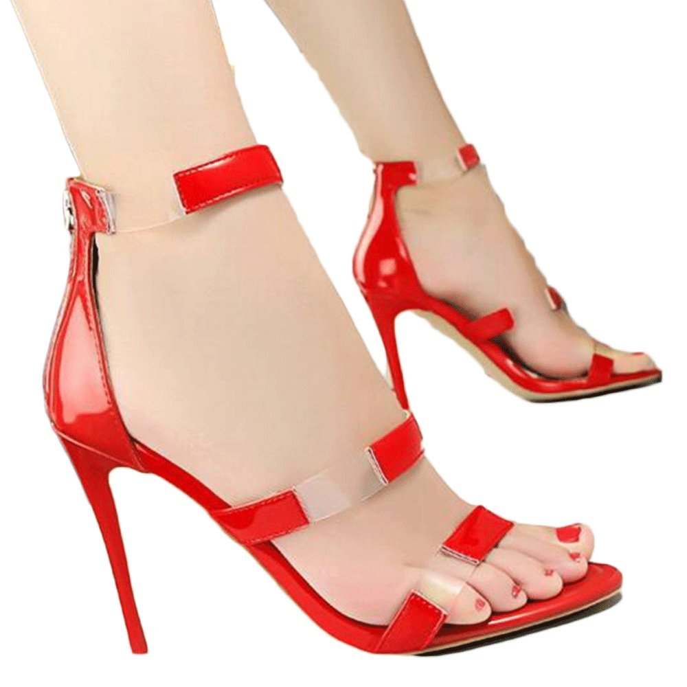 Frauen Frauen Frauen Transparent Ankle Strap Sandalen Stiletto Runde Peep Toe Stiletto Court Schuhe Zipper Pump High Heel Hochzeit Schuhe ROT(10cm) 61e7e7