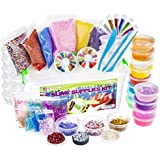 DIY Slime Supplies Kit - For Girls Boys   Slime Making Kit with Clear Crystal Slime, Foam Balls, Crunchy Fishbowl Beads, Glitter, Stars, Fruit Slice Decorations, Emojis, Containers   Slime Package Set