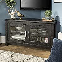 New 44 Inch Wide Corner TV Stand, Black Finish and Glass Doors