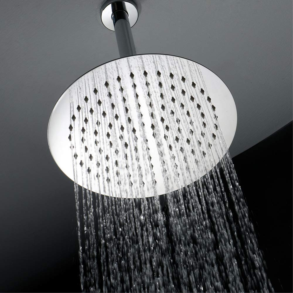 Round Shape 10 Inch Showerheads Ultra-Thin 8 10 12 Inch Showerheads Square for Bathroom 304 SUS Rainfall Shower Heads 200mm Ceiling Showers Polished (Round Shape 10 Inch Showerheads)