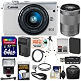 Canon EOS M100 Wi-Fi Digital ILC Camera & EF-M 15-45mm & 55-200mm is STM Lens (White) 64GB Card + Battery & Charger + Case + Filters + Strap + Tripod + Flash + Kit