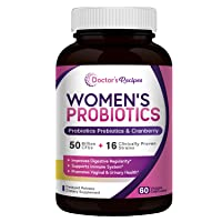 Doctor's Recipes Women's Probiotic, 60 Caps 50 Billion CFU 16 Strains, with Organic Prebiotics Cranberry, Digestive Immune Vaginal & Urinary Health, Shelf Stable, Delayed Release, No Soy Gluten Dairy