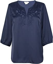 03062587ed5 Molly Bracken Womens Silk Floral Embroidered Blouse Navy Medium