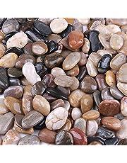 صخور نهر الحصى 2.27 كجم، أحجار مزخرفة في الهواء الطلق للحدائق، أحجار ملونة طبيعية مصقولة