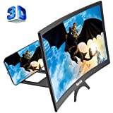 12'' 3D Curve Screen Magnifier for Cell Phone, HD Amplifier Projector Magnifing Screen Enlarger for Movies, Videos, and Gamin
