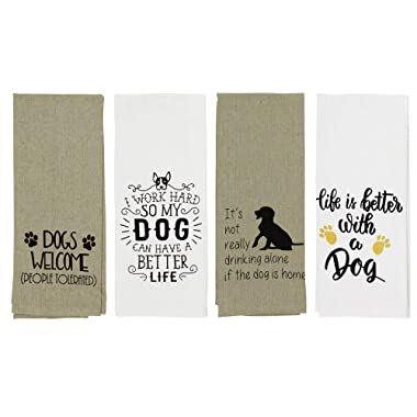 """Cute Dog Kitchen Towels Set of 4 Printed Cotton 16"""" x 28"""""""
