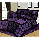 Anissa Collection Luxurious 11 Piece Micro Suede Soft Comforter Set U0026 Bed  Sheets Limited Time SALE!! (Purple Safari, Queen)