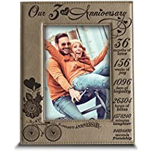 "BELLA BUSTA Our 3 years anniversary- Years,Months, Weeks, Days, Hours, Minutes, Seconds- Engraved Leather Picture Frame (4""x 6"" Vertical (Light Brown))"