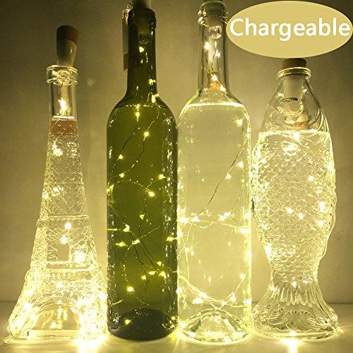Neojoy Wine Cork Lights Rechargeable Bottle Fairy String