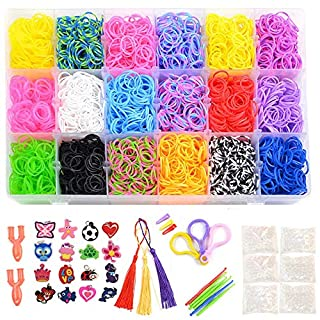 Totem World 6850 Pcs Rainbow Color Loomy Rubber Bands DIY Refill - 6400 Quality Stretchy Bands, 320 Clips, 100 Beads, 15 Charms, 2 Y Loomy, Hooks, Tassel, Hair Clips, Organizer Case