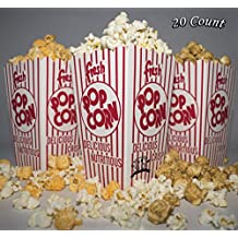 Diner's Choice Gourmet Concession Popcorn Boxes (20 count)   Perfect for Family Movie Night, Theaters, Festivals, and Party Favors   Red and White Striped Containers