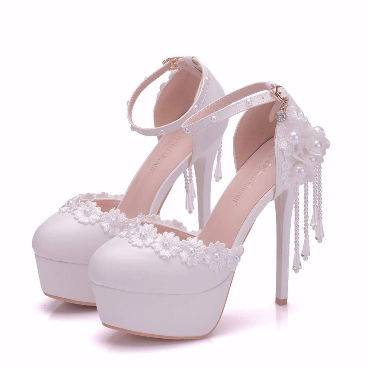 GTVERNH Damenschuhe 14 cm Runden Kopf Wasserdichte Tabelle Hochhackigen Sandalen Perle Perlen Tassel Hochzeit Hochzeit Schuhe Spitze Schuhe.