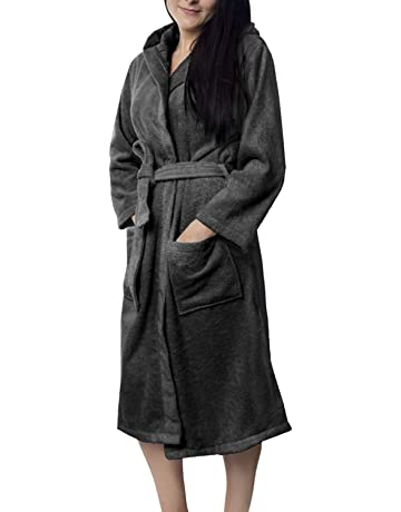 0324b4c12800 Oeko-TEX Zertifiziert Bademantel für Damen mit Kapuzen - Morgenmantel mit  Baumwollfrottee, 2 Taschen
