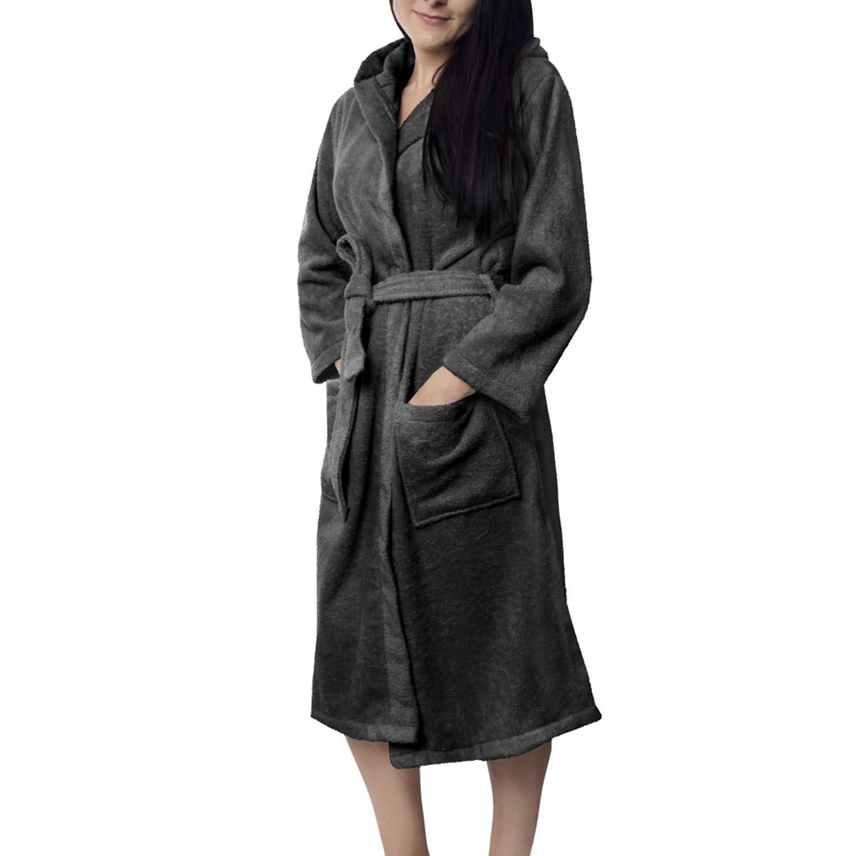Oeko-TEX Zertifiziert Bademantel für Damen mit Kapuzen Kapuzen Kapuzen - Morgenmantel mit Baumwollfrottee, 2 Taschen, Gürtel - Saunamantel, Weich, Saugfähig und Bequem B07F1GM19Y Bademntel e75c98