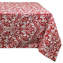 DII 100Percent Cotton, Machine Washable, Everyday Damask Kitchen Tablecloth for Dinner Parties, Summer and Outdoor Picnics - 52x52 Inch Seats 4 to 6 People, Tango Red
