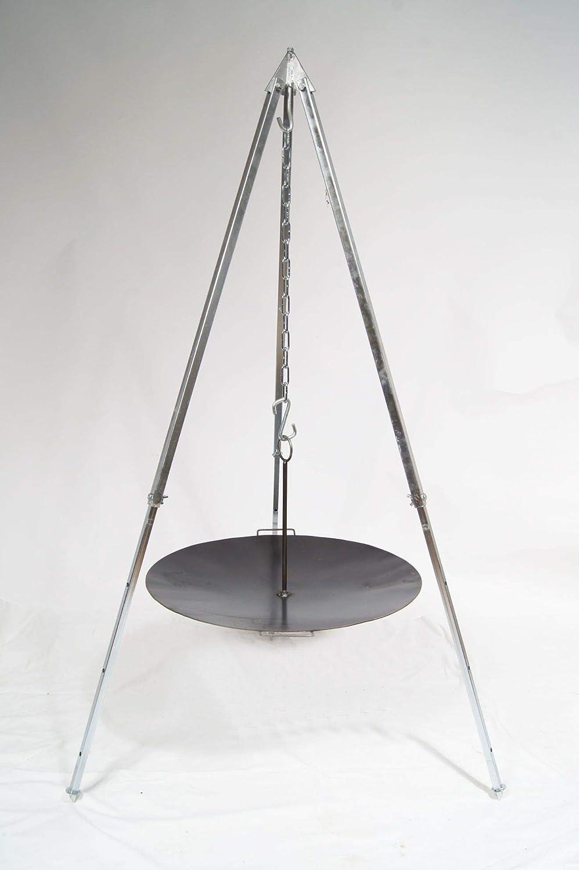 Unbekannt Grillpfanne Feuerschale Eisen 60cm + Teleskop Dreibein 1,6m