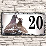 Custom pigeon SL111 House Slate Name Number Personalised Gift Sign Plaque - 30cmx15cm by Krafty Gifts