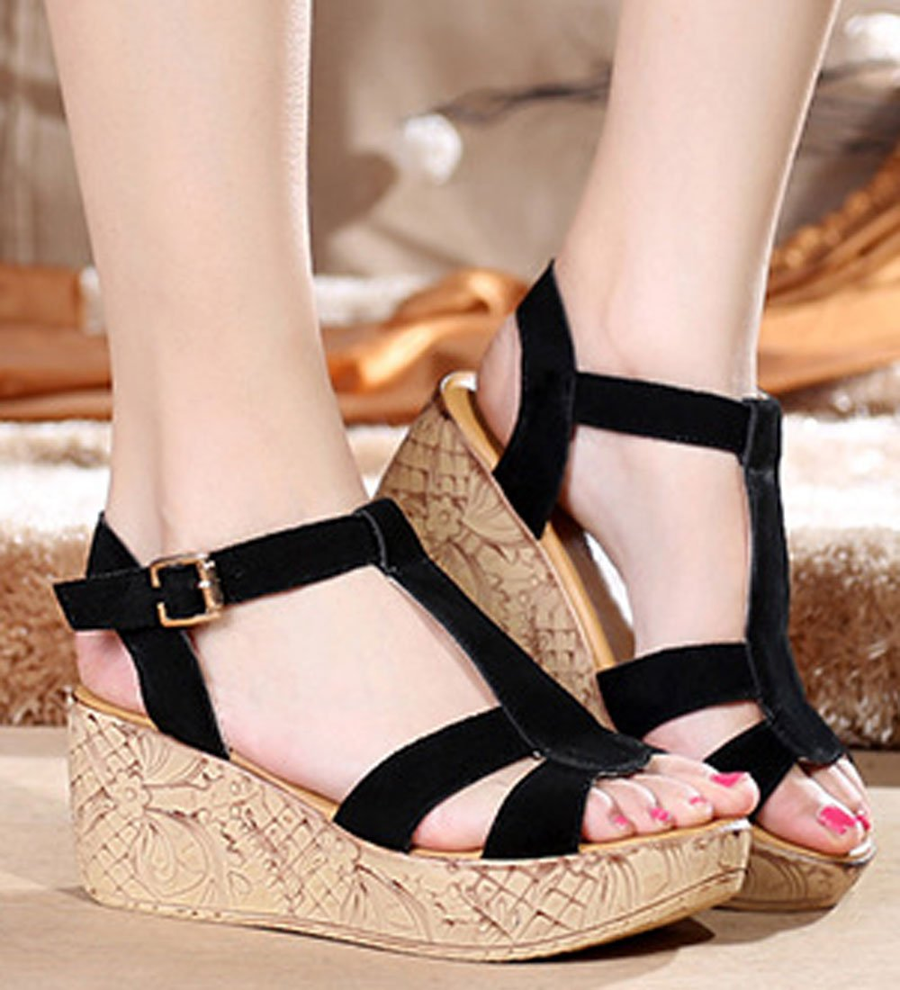 290d6d2a68c ... WAROFT Women s Cow Leather Fashion T Strap Platform Shoes Wedges Sandal  with Buckle Shoes Platform Size ...