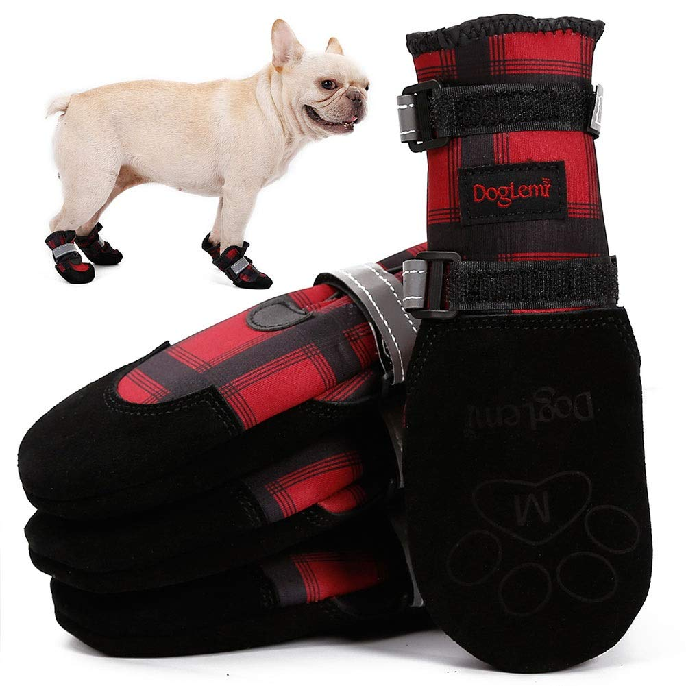 Red XS  width- 2.36\ red XS  width- 2.36\ Dog shoes Boots, Dog Winter Hiking Boots, Water Resistant Snow Paws shoes for Small Medium Large Dogs, Warm Fleece Liner, Anti-Slip, British Plaid High Tube, Two Adjustable Reflective Fastening Straps