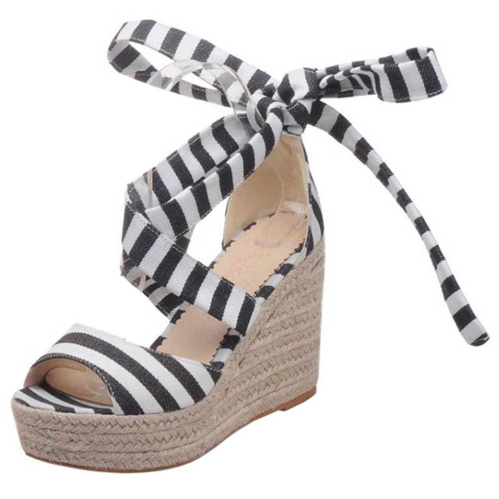 KemeKiss Women Striped Ankle Strap Open Toe Platform Wedge Sandals B072C9BX5W 6 B(M)US = 23.5 CM|Black