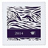 qs_180904_1 Beverly Turner Graduation Design - 2014 Zebra Print with Graduation Cap, Purple - Quilt Squares - 10x10 inch quilt square
