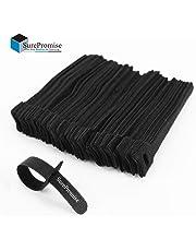 Confezione Fascette Ferma cavo in Velcro da 100 pezzi |Ideale per sistemare Cavi Pc, TV | Colore: Nero |