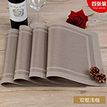 RUGAI-UE Place-mats Environmental protection Western-style food table pad antiskid insulation pad European plate hot meal protection pad four pieces,Double framed light caffeine