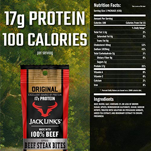 Jack Link's Beef Steak Bites, Original, 1.5 oz Bag, Pack of 8 – On-the-Go, Poppable Meat Snack, Excellent Source of Protein, Made with 100% Beef, 100 Calories and 17g of Protein Per Serving