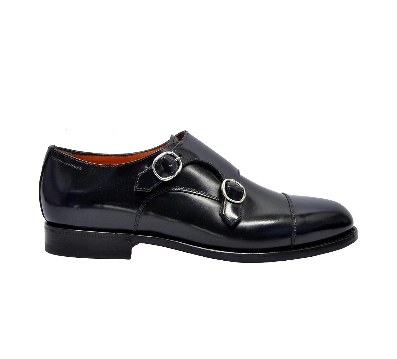 - Santoni MCC013973JJ1IN0VU50 Herren SchwarzLeder Monk-Schuhe