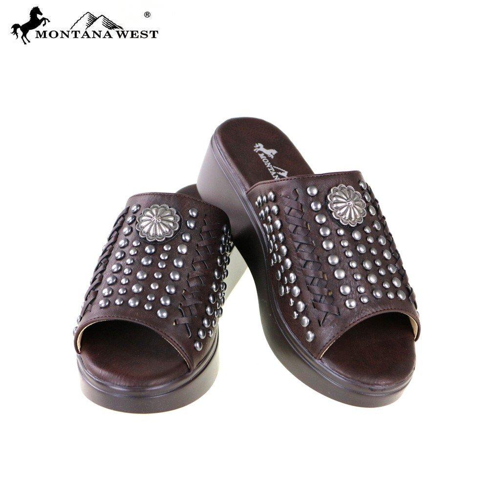 Montana West Western Style Medium/Average Brown Studded Wedge Sandals, Medium/Average Style Width B0054OC4CE 7 M US a35e4e
