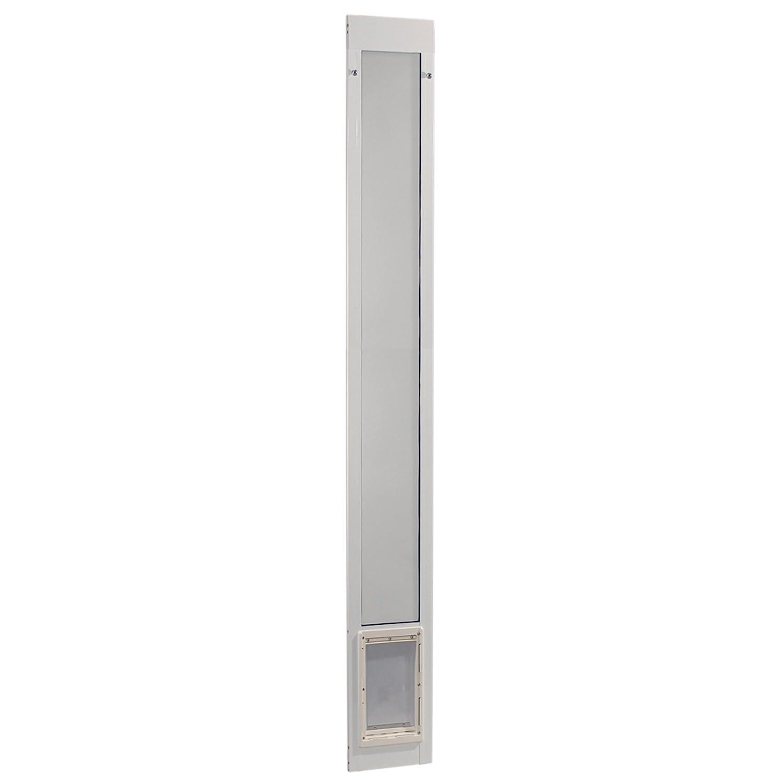 Ideal Pet Products 96-Inch White Patio Door with Medium Pet Door