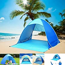 Easy pop up Beach Tent Outdoor Tent Portable Cabana Sun Shelter Sun Shade Protective Anti UV Sport Shelter Camping Shelter Beach Umbrella for Outdoors with Carry Bag SPF 50+ (Blue)