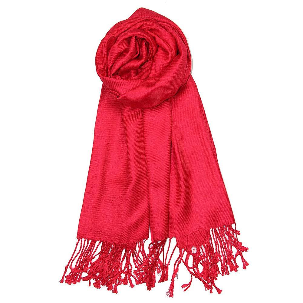 Red MissPretty Cashmere Scarf for Ladies Gift Idea Fashion Warm Wool Wrap Shawl Winter Stole for Women