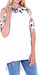 f21abb414621f CinGr8 Women s Floral Print Patchwork Cold Shoulder T-shirt Swing Tunic Top